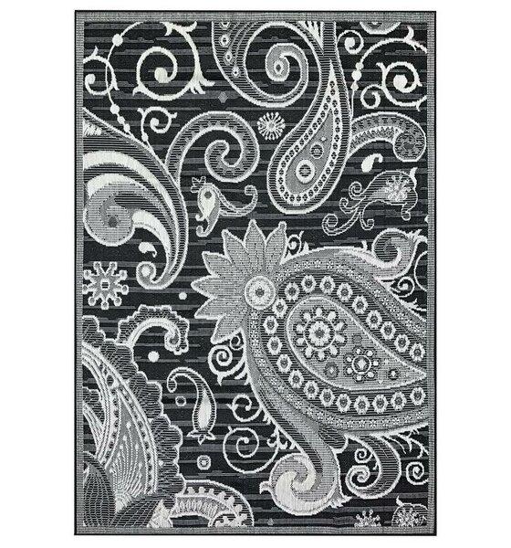 Hinnant Reversible Gray/Black Indoor/Outdoor Area Rug by Winston Porter