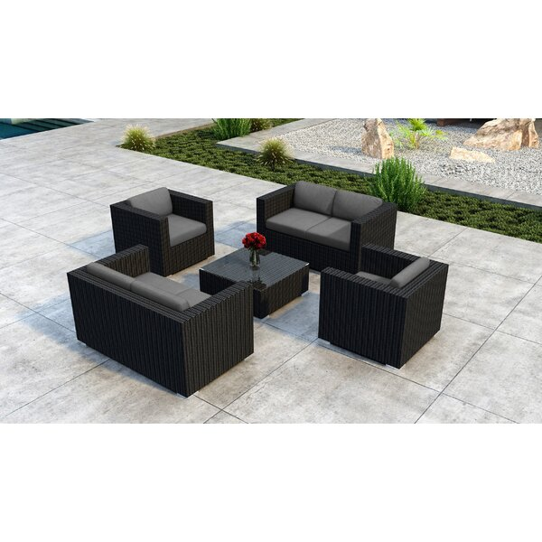 Glendale 5 Piece Rattan Sofa Seating Group with Sunbrella Cushions by Everly Quinn