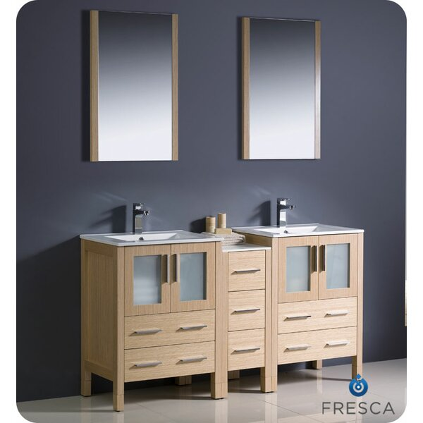 Torino 60 Double Sink Bathroom Vanity Set with Mirror by Fresca