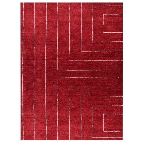 Mara Gabbeh Hand-Knotted Silk Red Area Rug by Orren Ellis