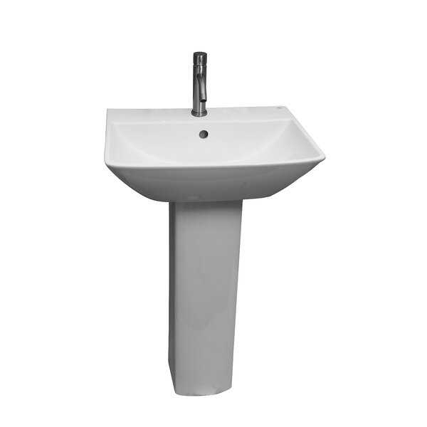 Summit Vitreous China Rectangular Pedestal Bathroom Sink with Overflow