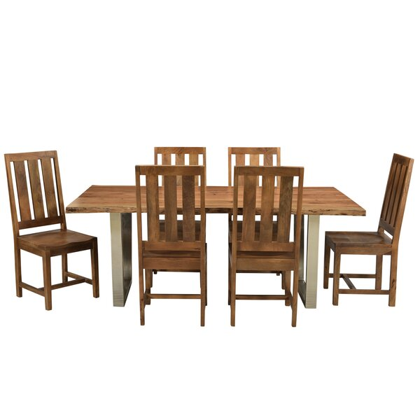 Jozereau Live Edge 7 Piece Solid Wood Dining Set by Union Rustic