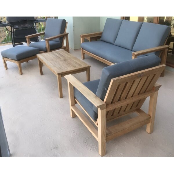 East Harptree 6 Piece Teak Sunbrella Sofa Set with Cushions by Bungalow Rose