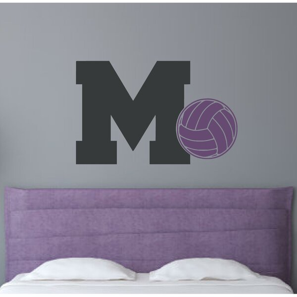 Monogram Letter M and Volleyball Wall Decal by Enchantingly Elegant