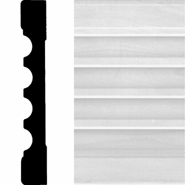 3/4 in. x 5-1/4 in. x 7 ft. Basswood Fluted Casing Moulding by Manor House