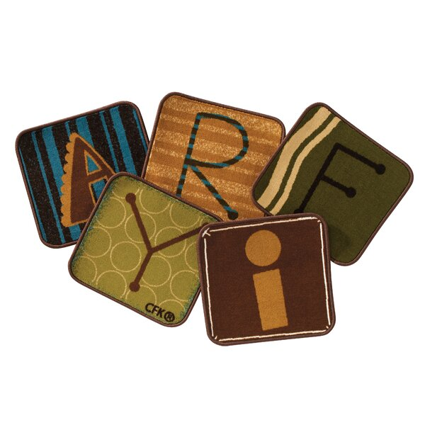 Toddler Alphabet Blocks Squares Nature Area Rug (Set of 26) by Carpets for Kids