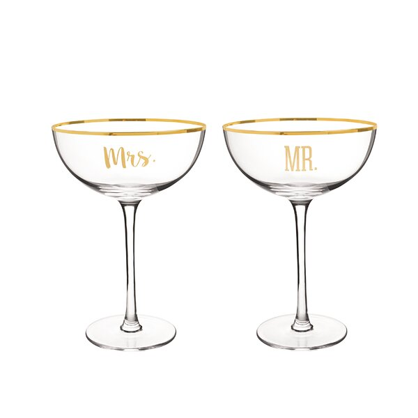Wedding Mr. and Mrs. Coupe 8 Oz. Champagne Flute by Cathys Concepts