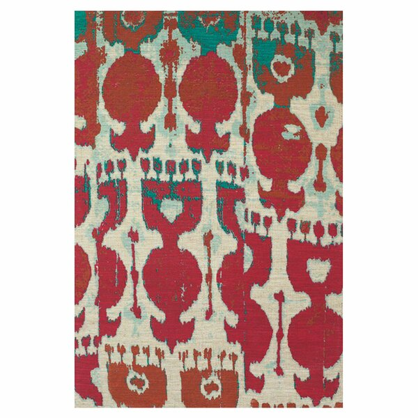Allegra Hand-Loomed Red/Teal Area Rug by Bungalow Rose