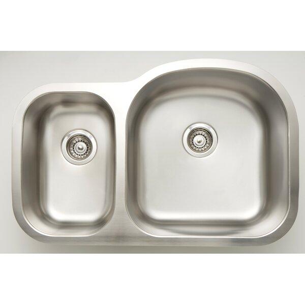 31 L x 9 W Double Basin Undermount Kitchen Sink with Basket Strainer