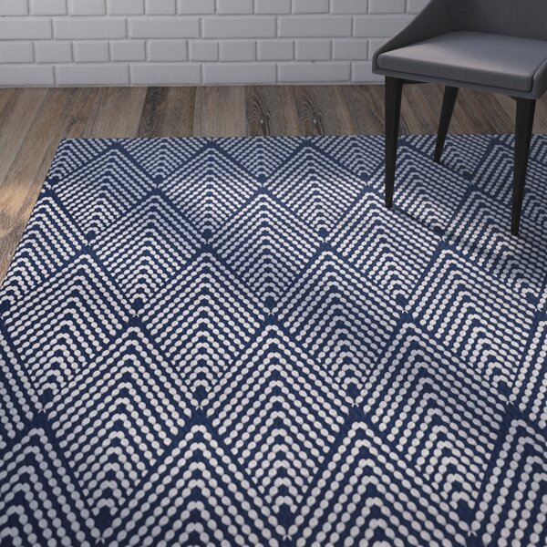 Waller Geometric Navy Blue Area Rug by Ivy Bronx