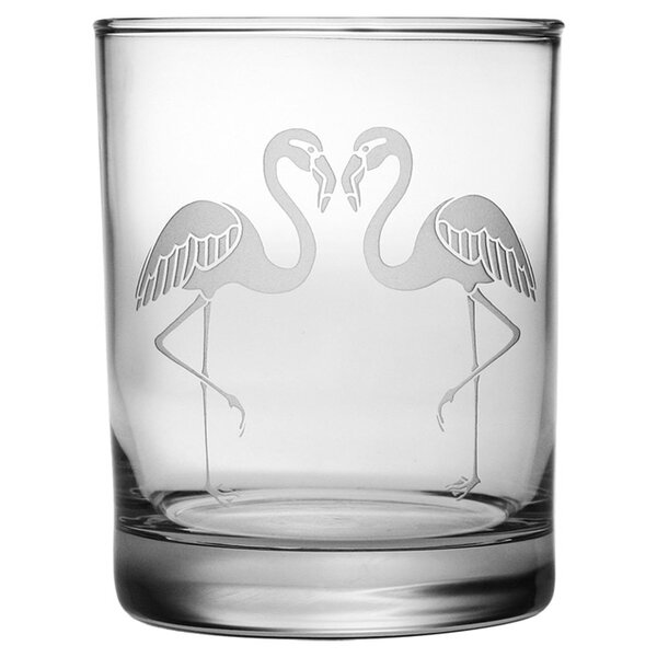 Flamingo Rocks Glass (Set of 4) by Susquehanna Glass