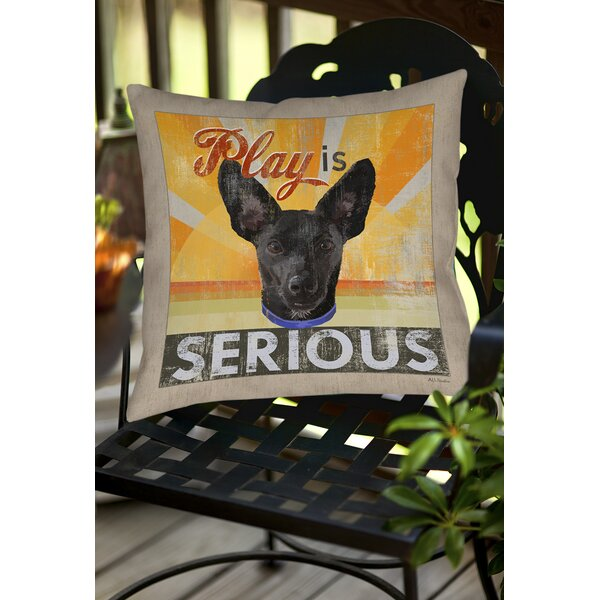 Dog Days - Little Black Pup Indoor/Outdoor Throw Pillow by Manual Woodworkers & Weavers