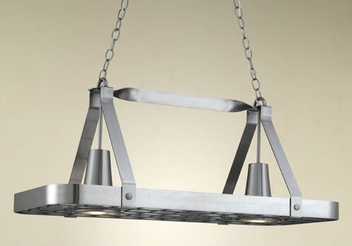 Sterling Rectangular Hanging Pot Rack with 2 Lights by Hi-Lite