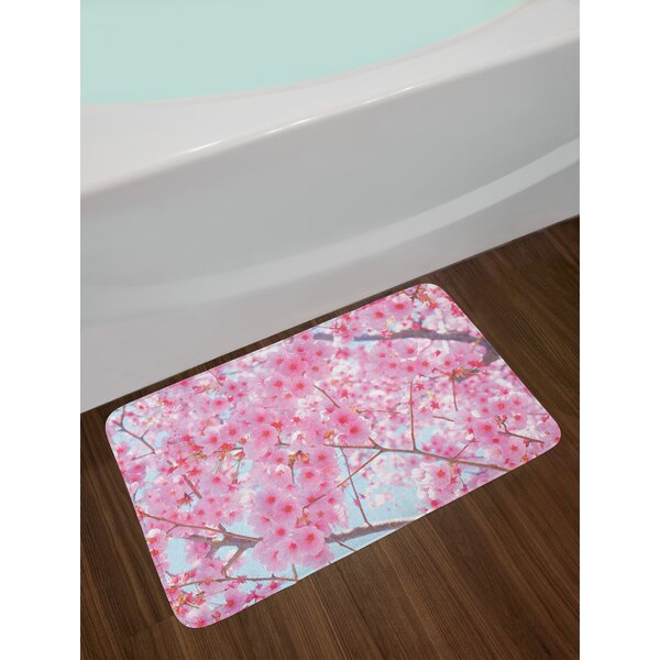 Floral Japanese Sakura Florets Essence Nature Beauty Blossoms Refreshing Summer Picture Non-Slip Plush Bath Rug by East Urban Home