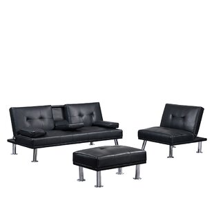 Modern Faux Leather Couch Convertible Folding Sofabed With 2 Cup Holders, Removable Armrest And Metal Legs, Single Sofabed With Ottoman , 3 Pcs For 1 Sets by Ebern Designs