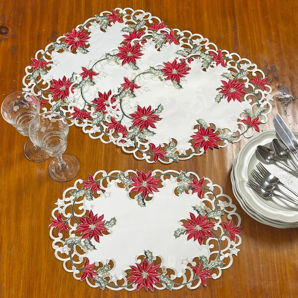 Delsur Poinsettia Handmade Embroidered Cutwork 12 Placemat (Set of 4) by The Holiday Aisle