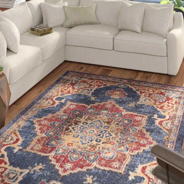 Dulin Blue/Rust Red Area Rug by Mercury Row