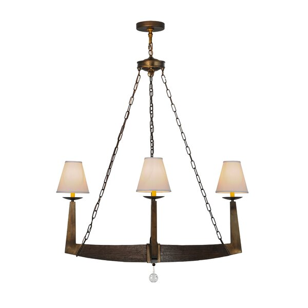 Kylee 4 - Light Shaded Wagon Wheel Chandelier by Foundry Select Foundry Select