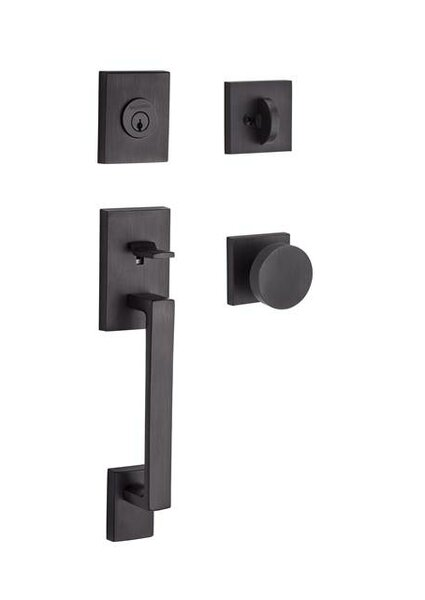 La Jolla Single Cylinder Handleset with Contemporary Door Knob Contemporary Square Rose by Baldwin