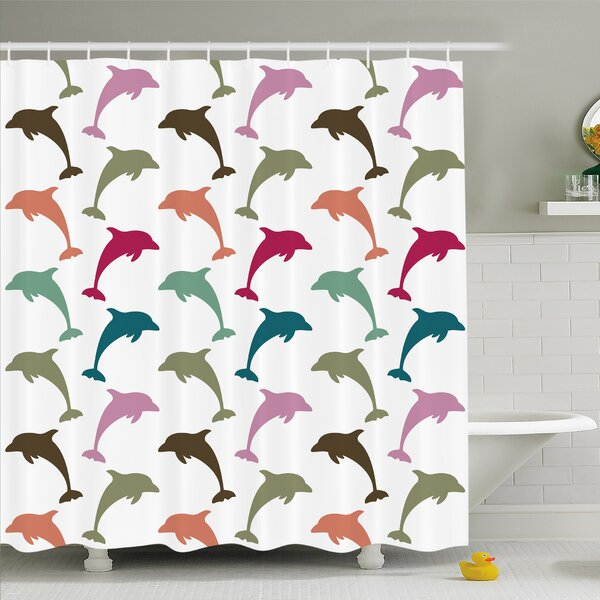 Sea Animals Colorful Dolphin Figures on Background Ocean Marine Animal Shower Curtain Set by Ambesonne