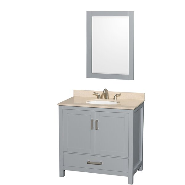 Sheffield 36 Single Gray Bathroom Vanity Set with Mirror by Wyndham Collection
