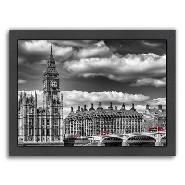 London Big Ben & Red Bus Framed Photographic Print by East Urban Home