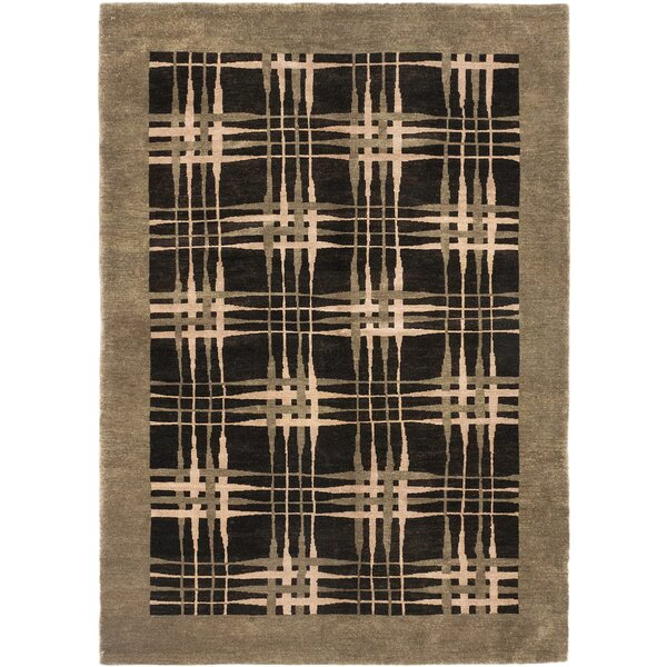 One-of-a-Kind Harger Hand-Knotted Wool Beige/Black Area Rug by Isabelline