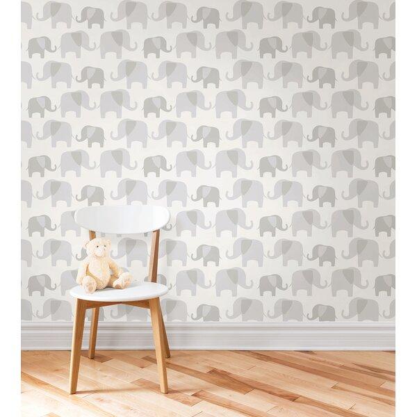 Gray Elephant Parade Wallpaper Roll by WallPops!