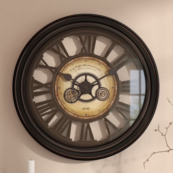 Oversized 24 Gear Works Wall Clock by Darby Home Co