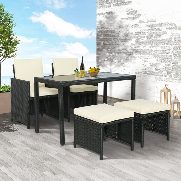 5 Piece Outdoor Dining Set with Cushions