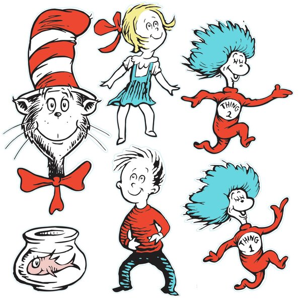 Large Dr Seuss Characters 2-sided Bulletin Board Cut Out by Eureka Classroom