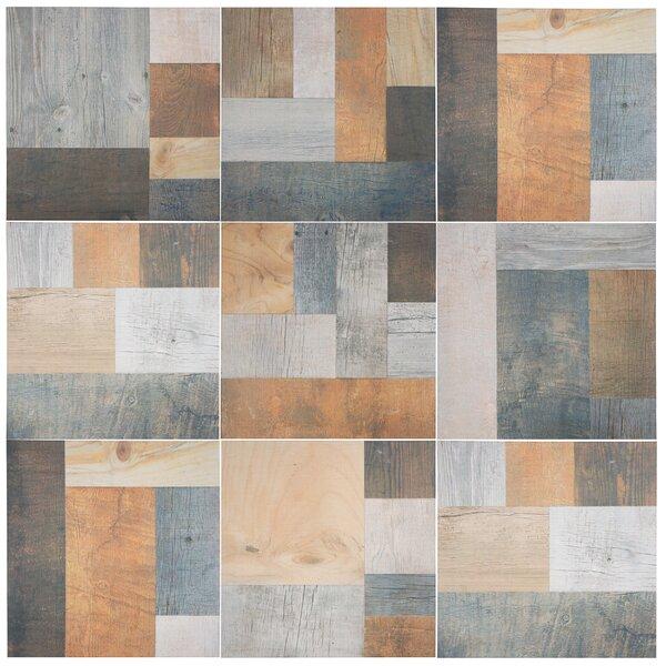 17.38 x 17.38 Porcelain Splitface Tile in Beige/Gray/Brown by EliteTile
