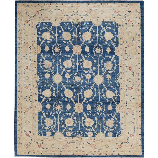 Oriental Hand-Knotted Wool Blue/Gold Area Rug