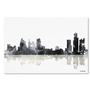 Boston Mass Skyline BG-1 by Marlene Watson Graphic Art on Wrapped Canvas by Trademark Fine Art