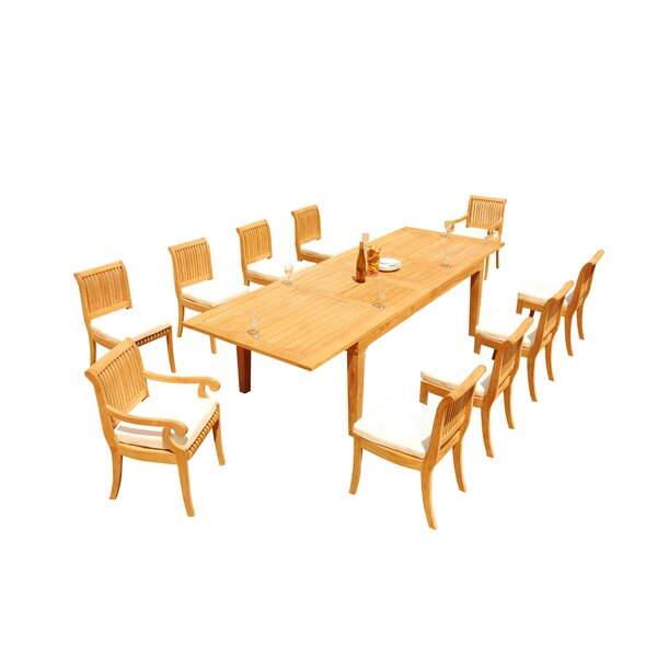 Matamoros 11 Piece Teak Dining Set by Rosecliff Heights