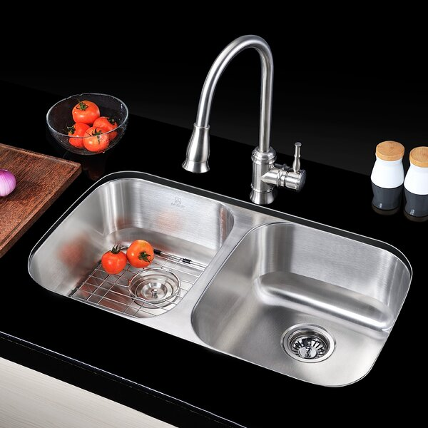 Moore 32.25 L x 18.5 W Double Bowl Undermount Kitchen Sink with Drain Assembly by ANZZI
