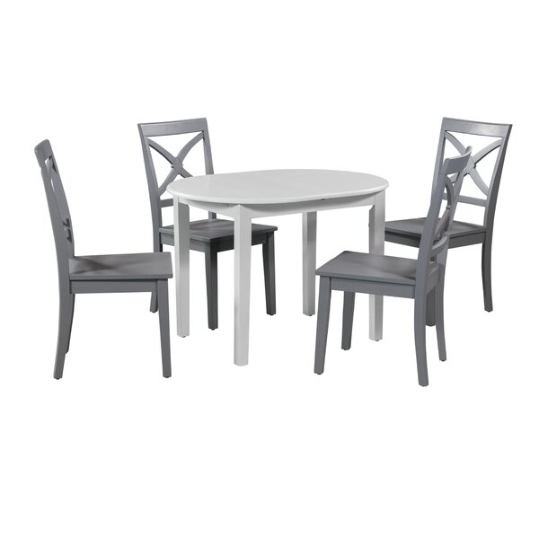 Deforest 5 Piece Extendable Solid Wood Dining Set by Highland Dunes