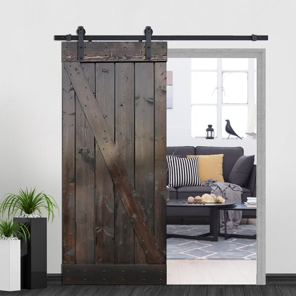 Z-Bar Solid Wood Room Dividers Pine Slab Interior Barn Door by Calhome