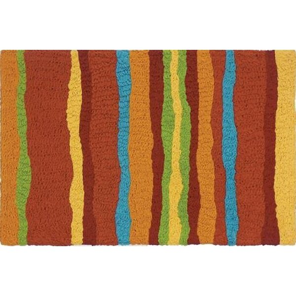 Strubing Stripes Scatter Hand-Tufted Brown Indoor/Outdoor Area Rug by Ebern Designs