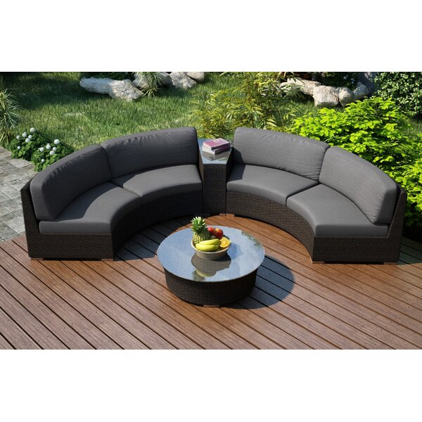 Hodge 4 Piece Sofa Seating Group with Sunbrella Cushions by Rosecliff Heights