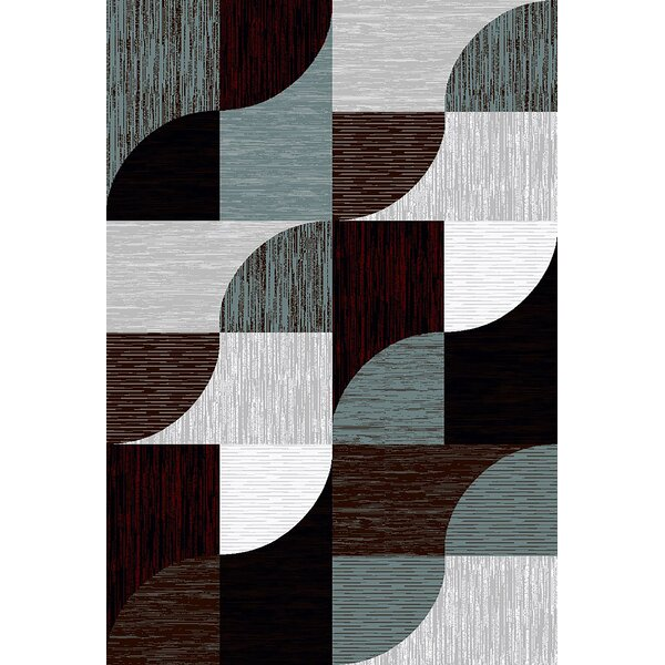 Mccampbell 3D Modern Contemporary Burgundy Area Rug by Ivy Bronx