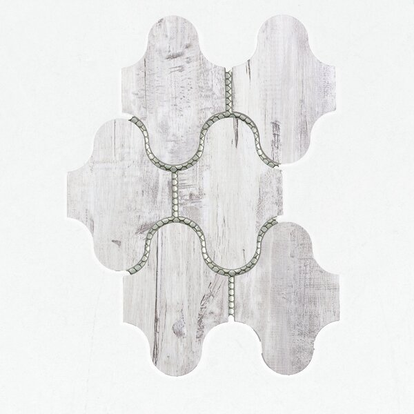 Nature Swag 4 x 5.13 Glass Wood Look Tile in Birchwood Gray/Tan by Abolos