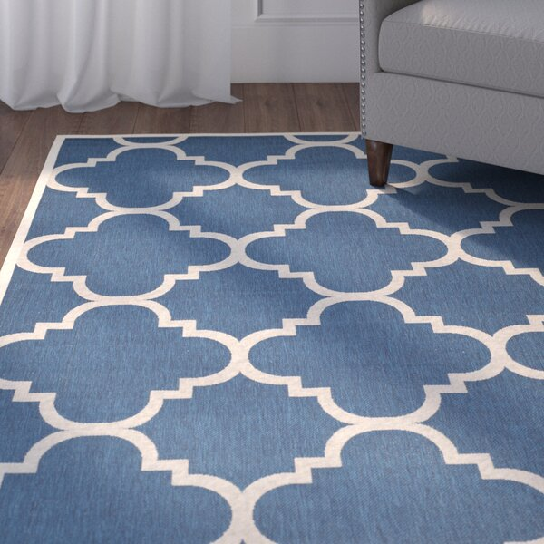 Short Navy/Beige Indoor/Outdoor Area Rug by Winston Porter