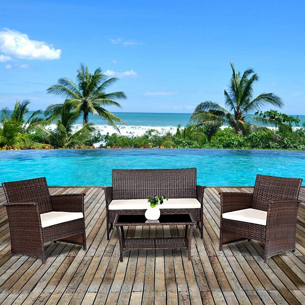 Yoselin 4 Piece Rattan Sofa Seating Group with Cushions by Highland Dunes
