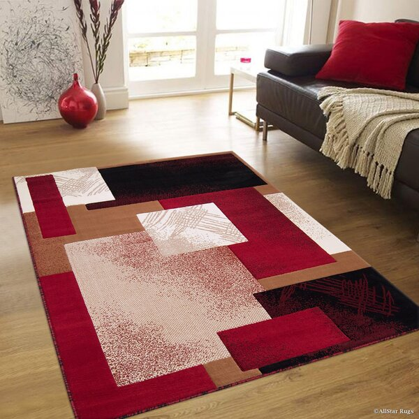 Hand-Woven Red Area Rug by AllStar Rugs