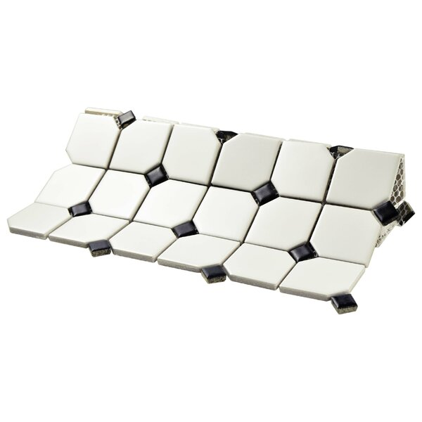 Retro Broadway 11.75 x 11.75 Porcelain Mosaic Tile in Matte White/Black by EliteTile