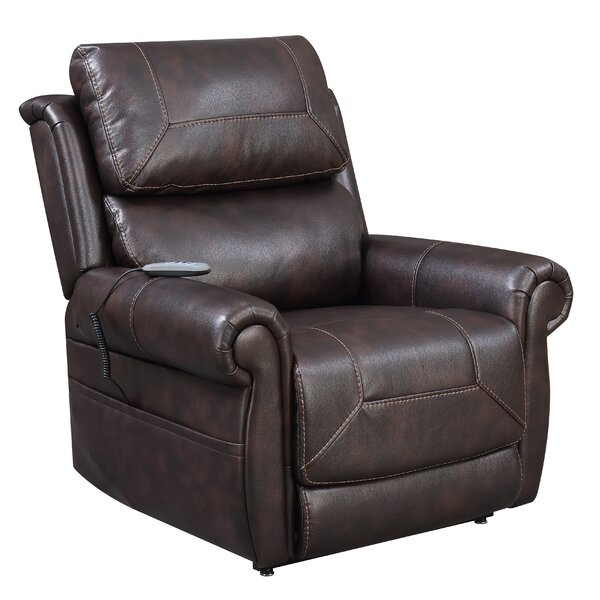 Holcroft Comfort Leather 23.5 Power Lift Assist Recliner Red Barrel Studio W002746062
