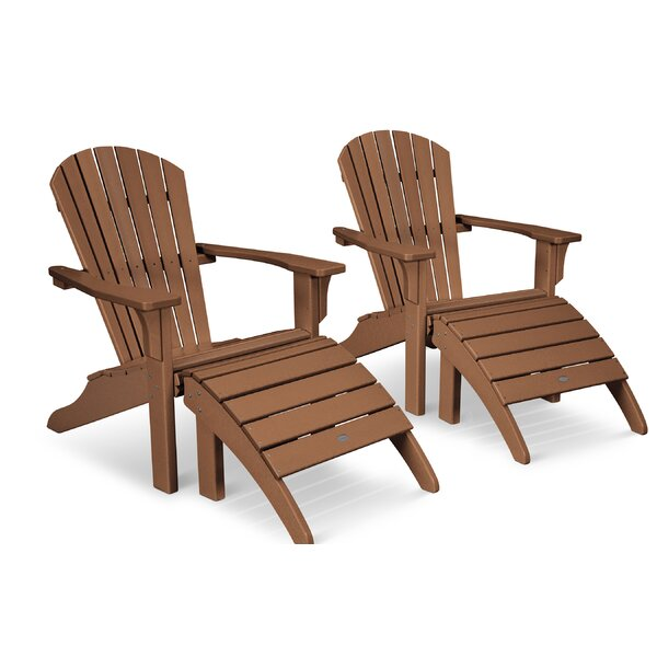 Seashell Plastic Adirondack Chair with Ottoman by POLYWOOD POLYWOOD®