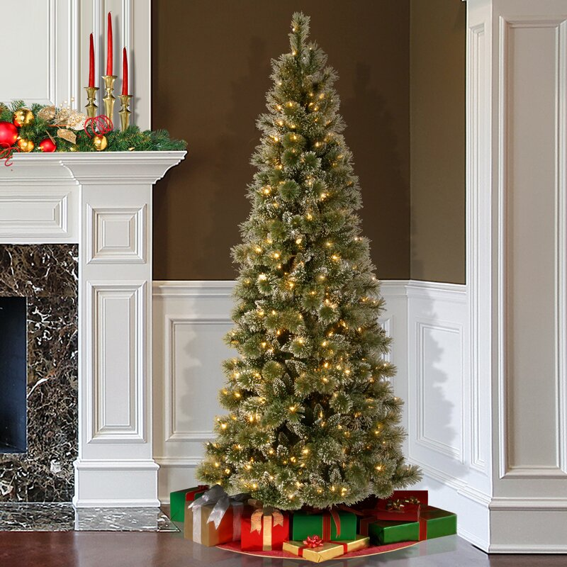 Slim 7.5' Green Pine Artificial Christmas Tree with 600 White Lights - Darby Home Co Slim 7.5' Green Pine Artificial Christmas Tree With