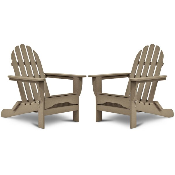 Seaway Plastic Folding Adirondack Chair (Set of 2) by August Grove